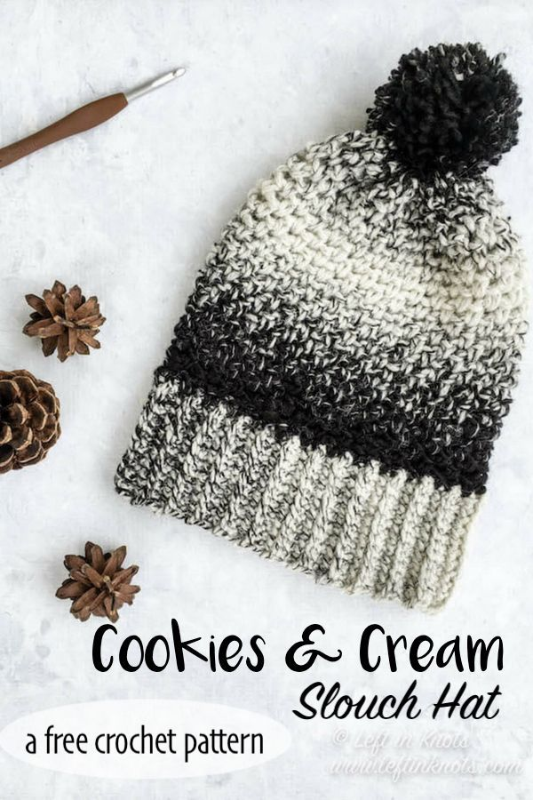 Crochet Cookies and Cream Slouch Hat - A Free One Skein Pattern | Hats