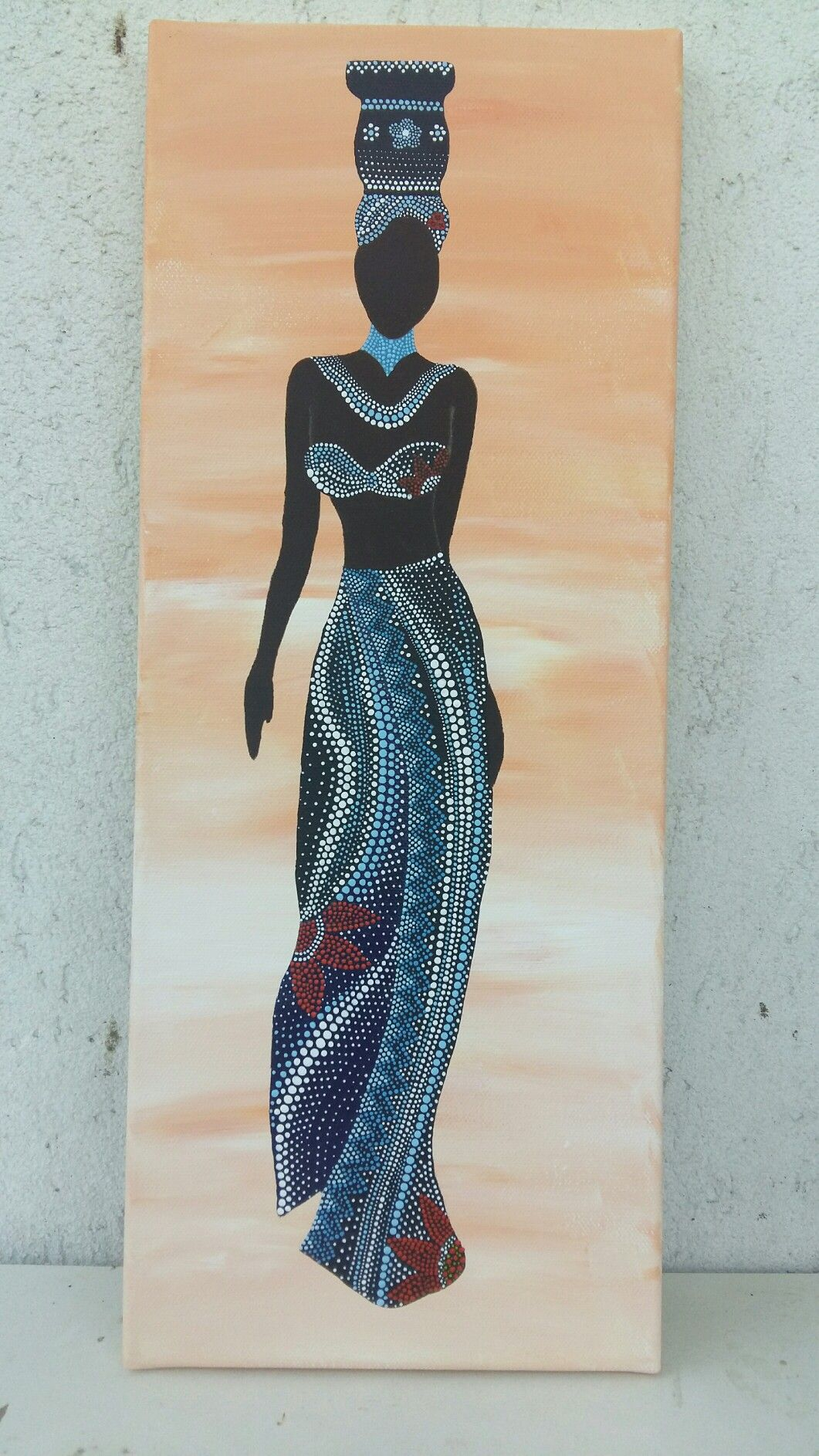 African woman on canvas mandala dot art wall clocks and african woman on canvas amipublicfo Images