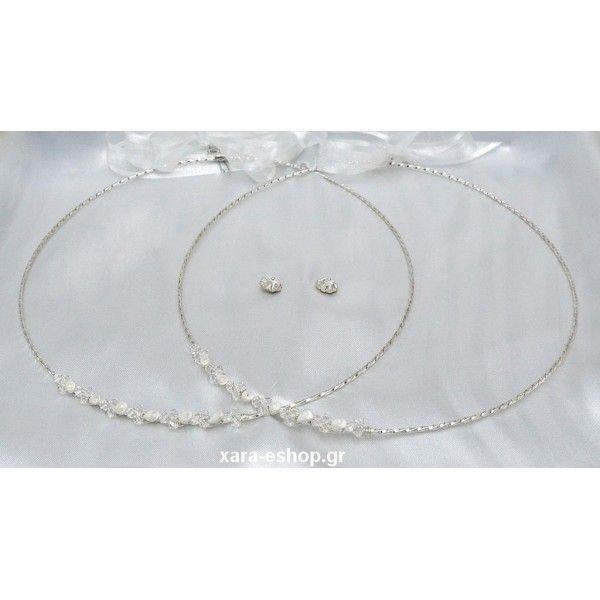 cf3f12839985 Ασημένια στέφανα γάμου χειροποίητα βέργα στριφτή με crystal Swarovski και  λουλούδι από πορσελάνη