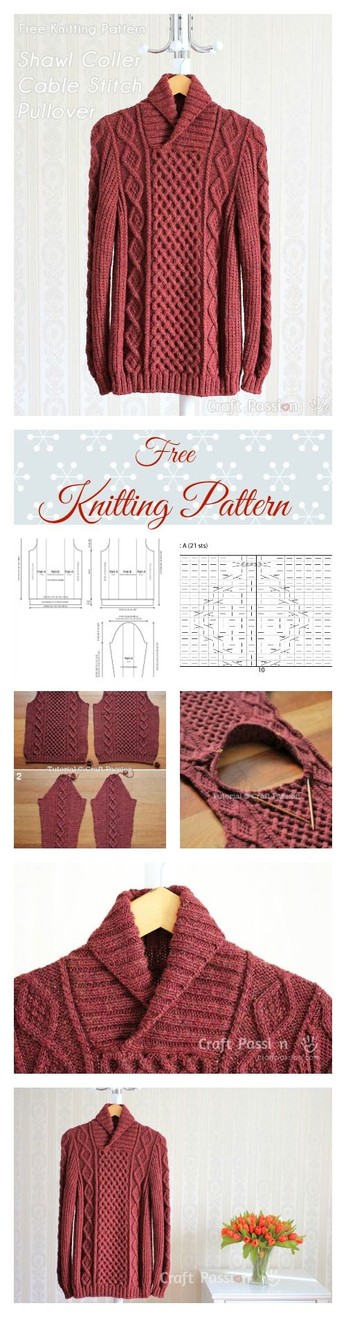 Shawl Collar Cable Pullover - Free Knitting Pattern   Knitting ...
