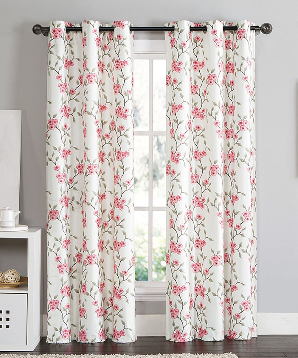 Pink Rebecca Floral Blackout Curtain Panel - Set of Two | Products ...