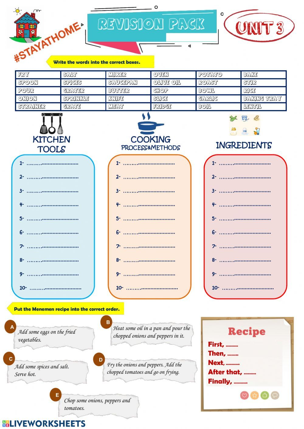 8th Grade Unit 3 In The Kitchen Interactive Worksheet Kitchen Safety Lesson Worksheets Learn English