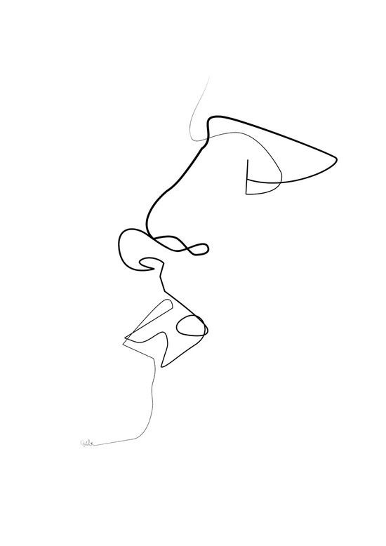 One Line Art Facepalm : Simple perfect art print by quibe illustration
