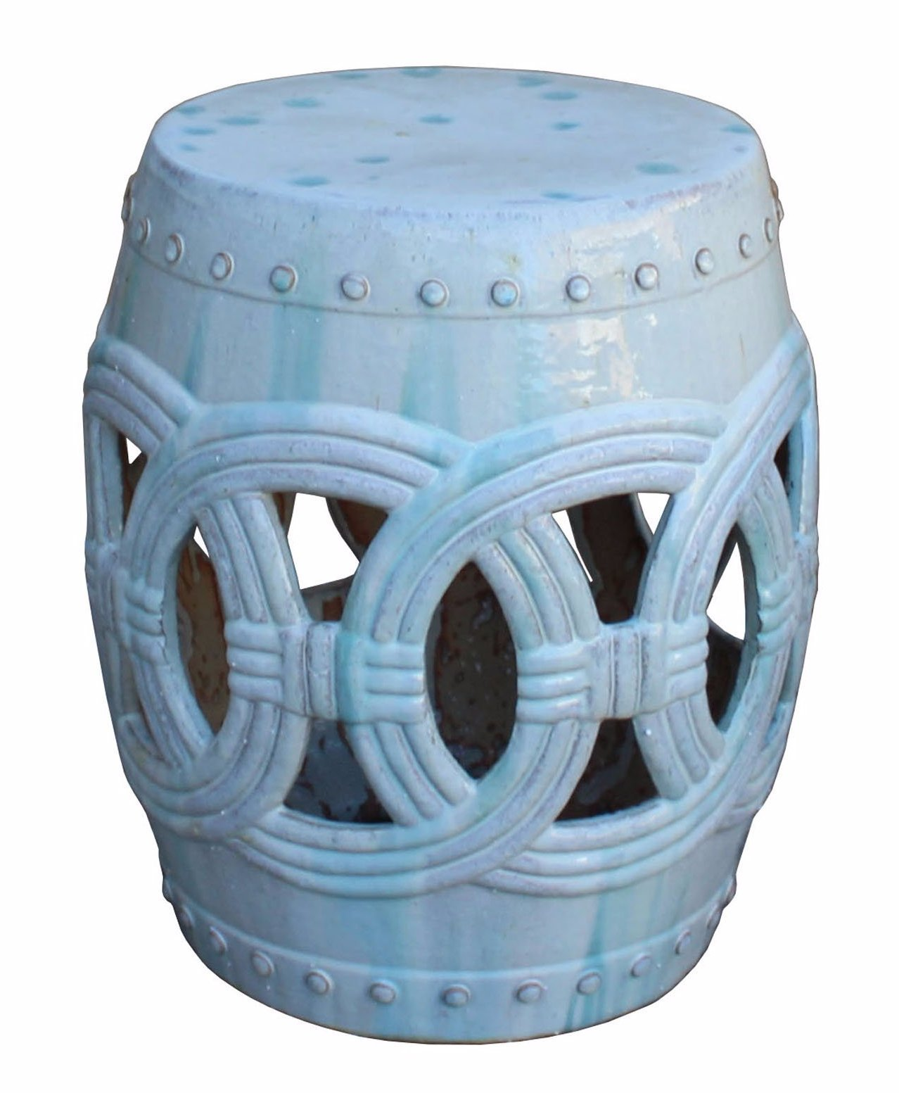 Chinese White Coin Pattern Round Clay Ceramic Garden Stool