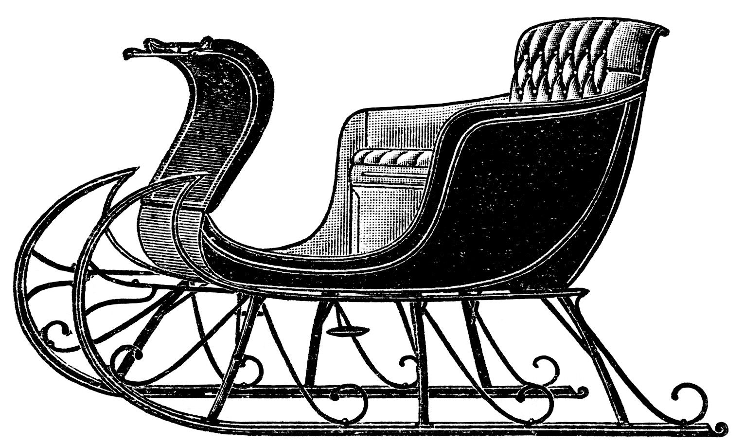 Vintage Sleigh Clip Art Old Catalog Page Horse Drawn