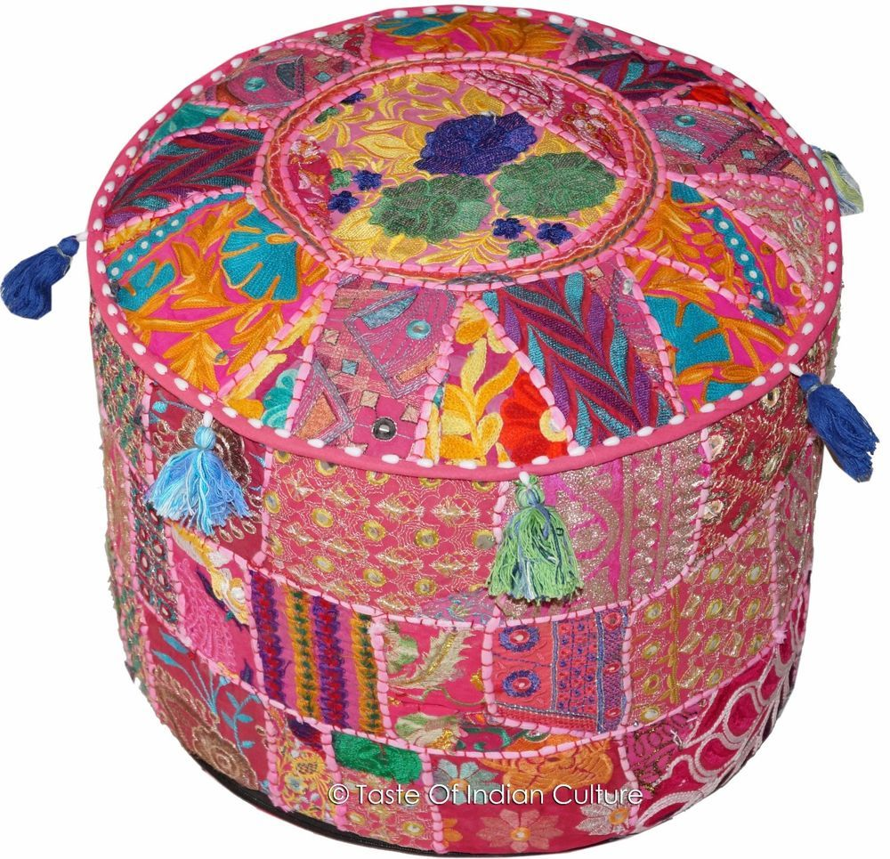 New Hand Embroidered Round Ottoman Pouf Seating Pouffefrom India