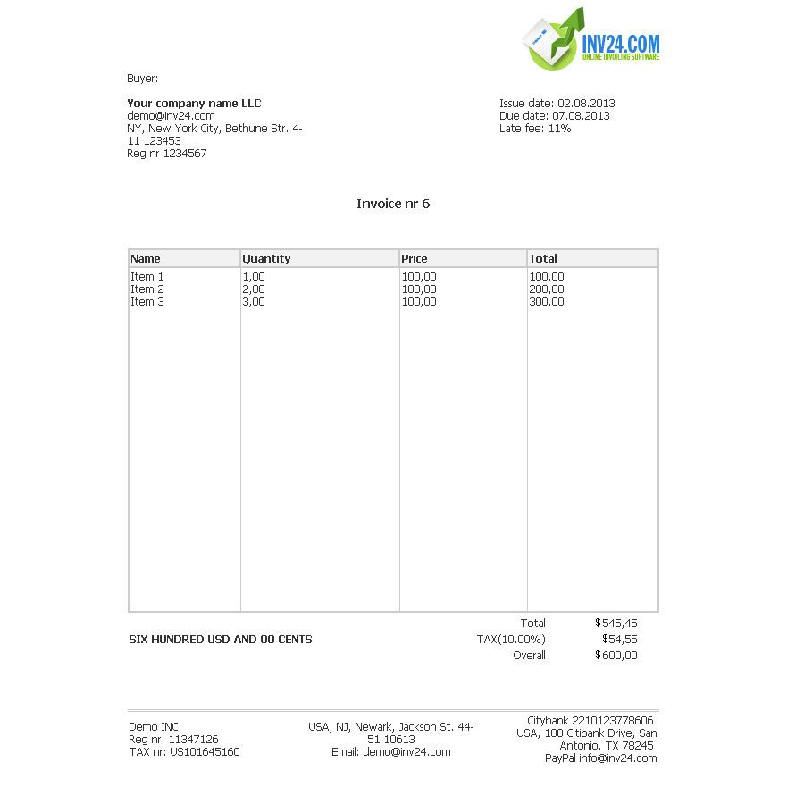 Html Invoice Example Invoice Pinterest Invoice Example - Formal invoice template
