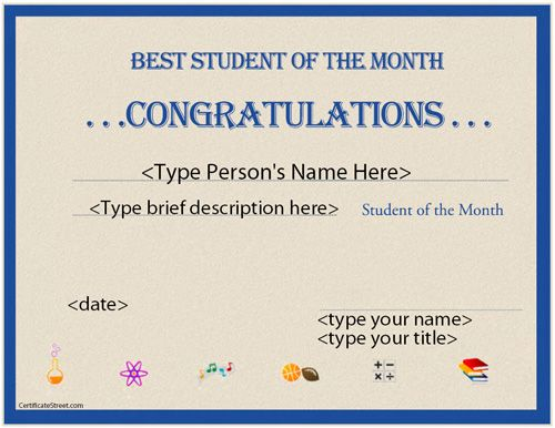 Education Certificate - Best Student of the Month - congratulations certificates