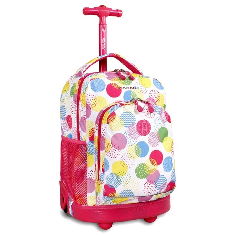 eeaa6f35e68 Girls Pink Dots Backpack Colored Rainbow Large Polka Dot Themed ...