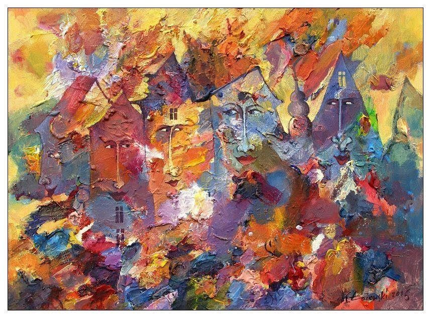 CITY OF COLOUR  acrylic on canvas 55x40cm Krzysztof Lozowski