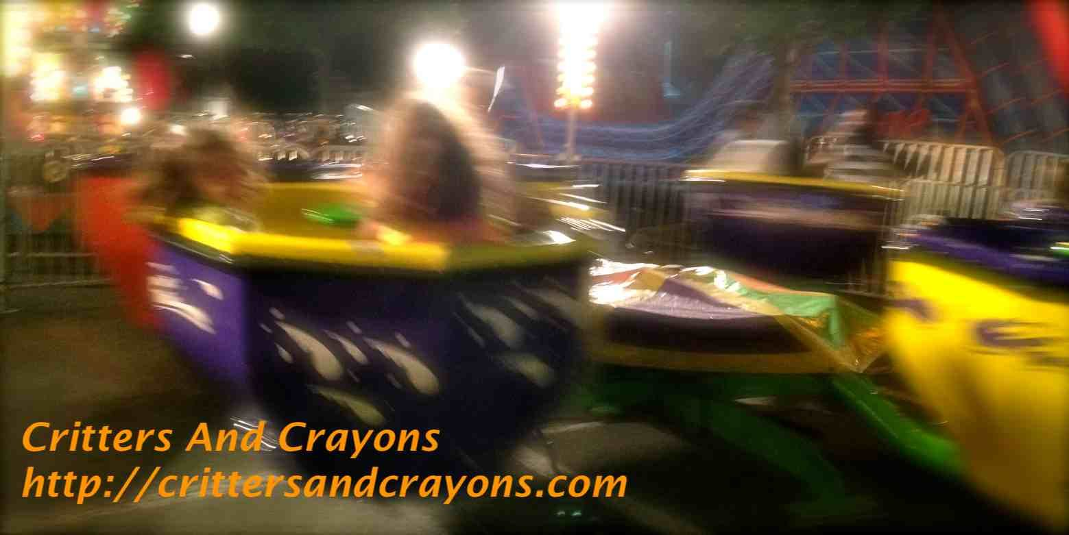 A humor post from Critters And Crayons about carnivals and wanting to rescue our kids from some of the scariest rides...like the spinning teacup ride.