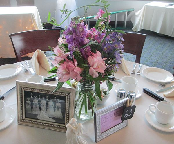 Mason Jar Centerpiece with Stock, Alstroemeria, and Sweet Pea Vine ...