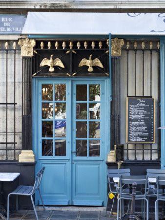 Blue Doors of Cafe, Marais District, Paris, France Photographic Print