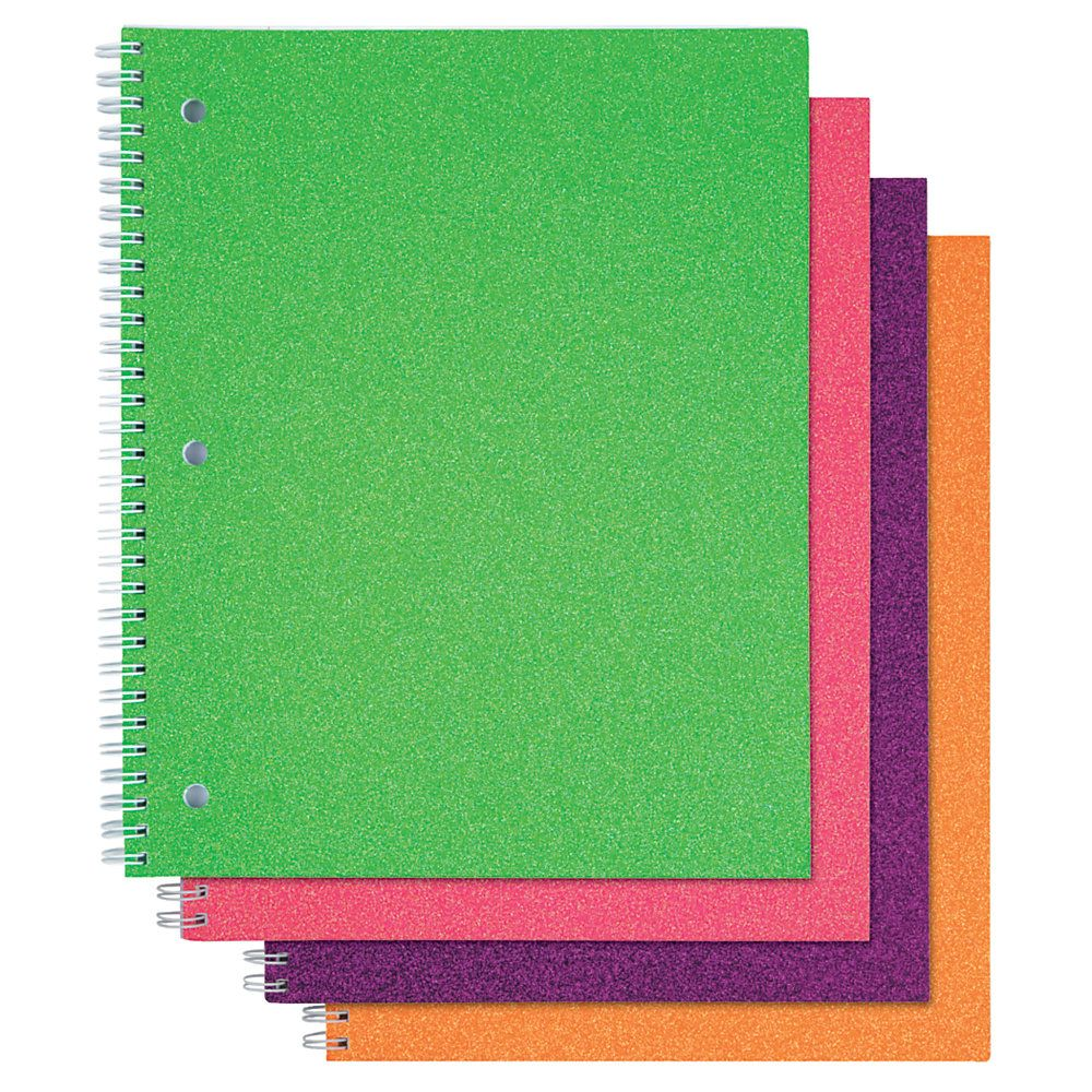 """Office Depot Glitter 3Hole Punched Notebook, 8"""" x 10 1/2"""