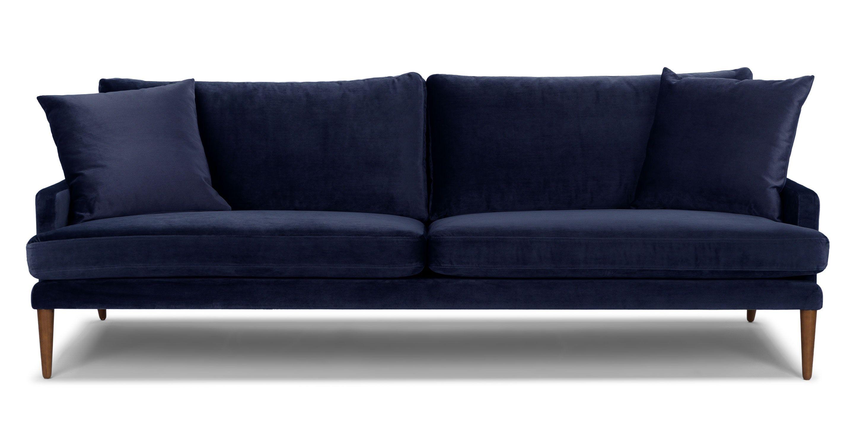 Blue Velvet Sofa 3 Seater Solid Wood Legs Article Luxu