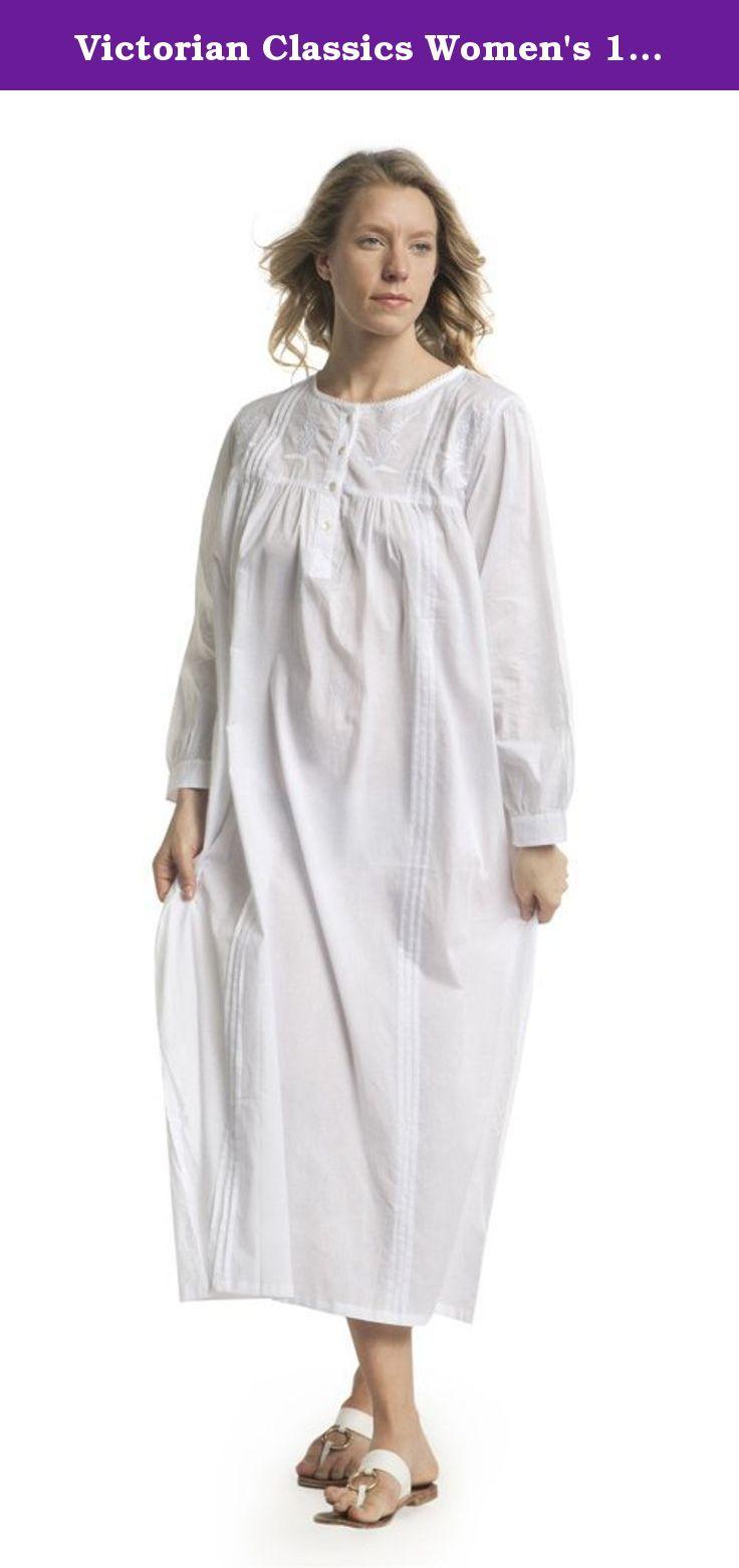 Victorian Classics Women s 100% Cotton Kelly Long Sleeve Victorian Nightgown  (Medium 3f480f66f