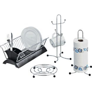 Buy Set Of 4 Black And Chrome Kitchen Accessories At Argos Co Uk