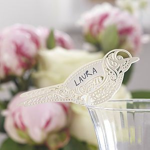 Ivory Laser Cut Lace Bird Glass Place Card - decoration