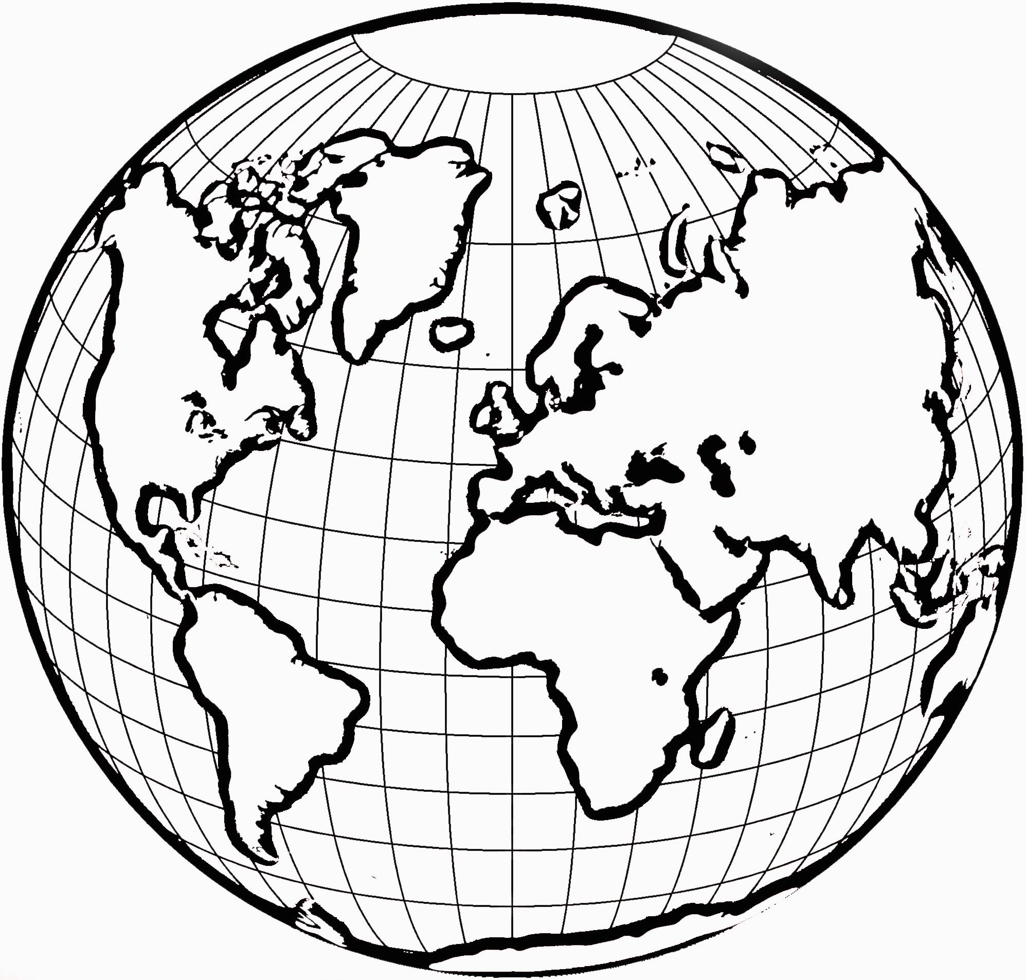 World Coloring Pages Globe Drawing World Map Coloring Page