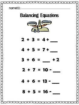 Balancing Equations: Missing Addend, Addition