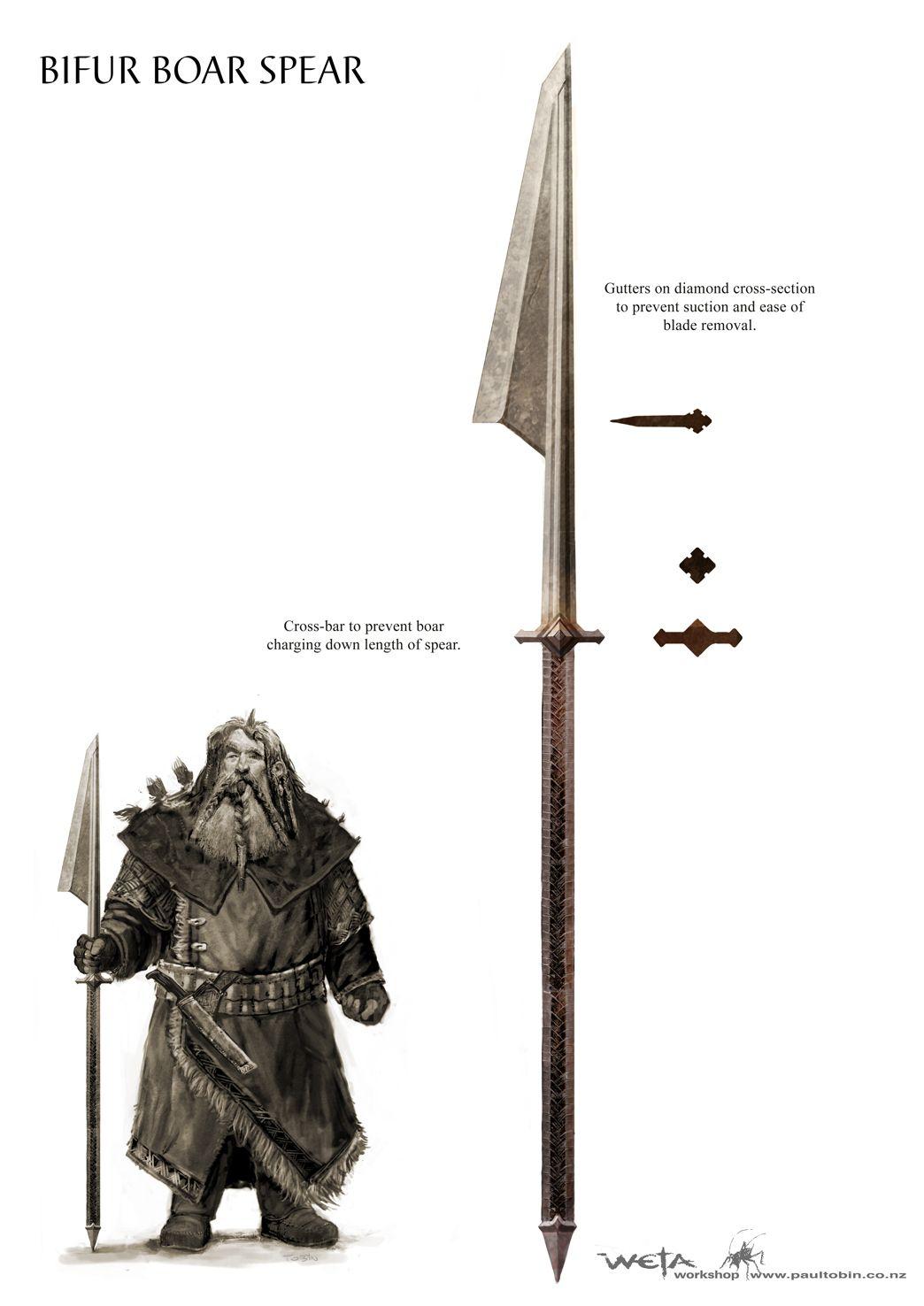 Bifur S Boar Spear Art Concept By Paul Tobin For The Hobbit Movies Boar Spear Spear Dwarven Armor