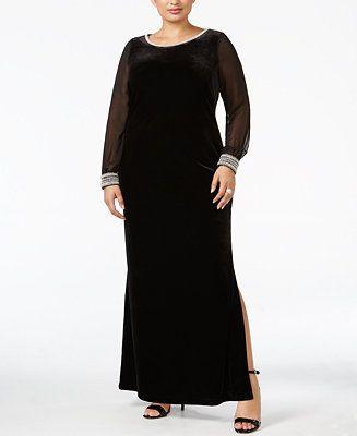 7e812ad89d6 Alex Evenings Plus Size Velvet Illusion-Sleeve Gown - Dresses - Plus Sizes  - Macy s