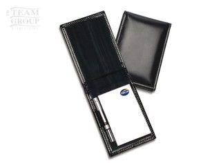 Set de bolígrafo mini y portablock de cuero