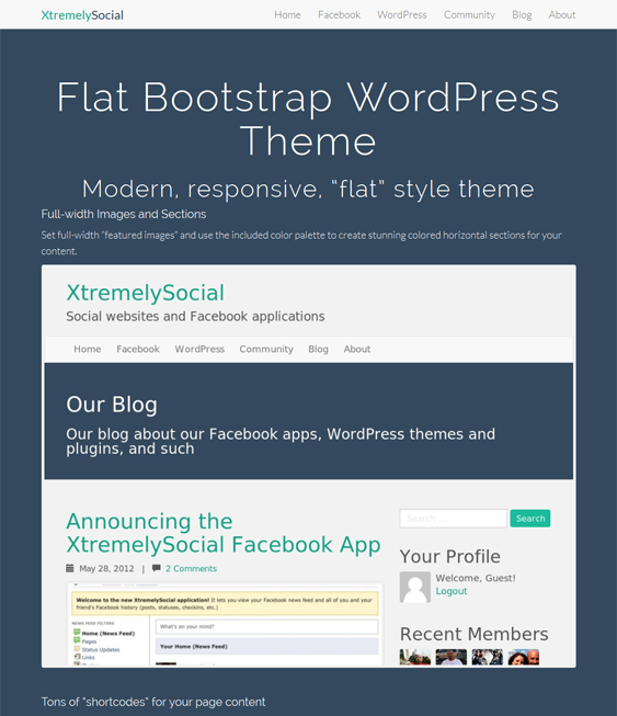 This free flat WordPress theme offers a responsive layout, Bootstrap ...