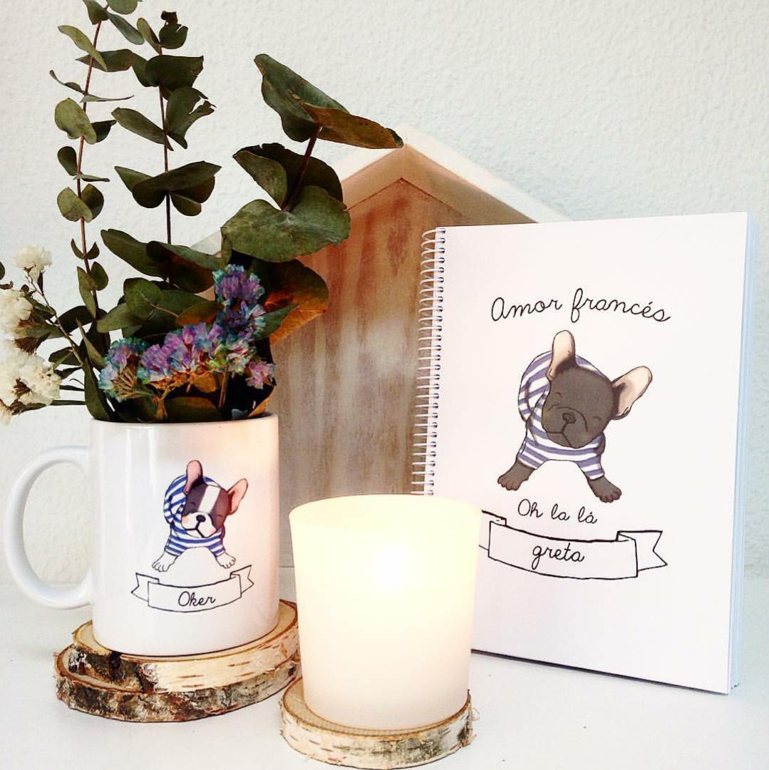 ¡Buenos días! Empezar el sábado con una taza y un cuaderno de la colección Bulldog Francés es siempre una buena idea #perro #bulldog #sabado #pinterest