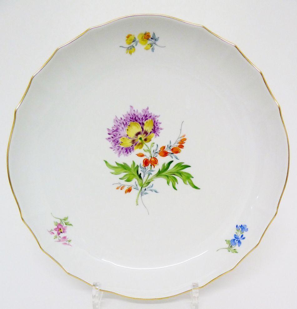 Meissen, großer Anbietteller, Blumen Dekor, D= 27,5 cm, Kuchenteller, 1. Wahl