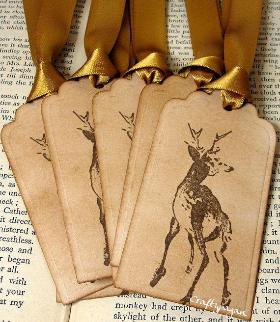 reindeer gift tags {love that mustard gold satin ribbon}