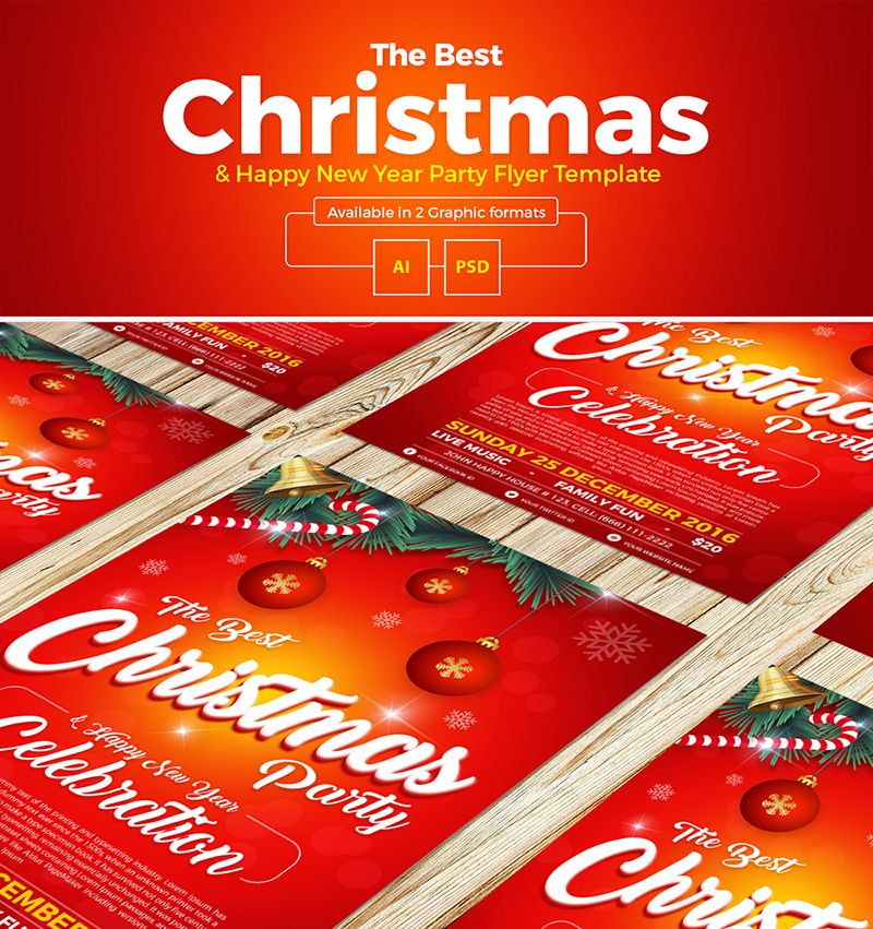 Free Design Data Download Christmas New Year Flyer Template Free