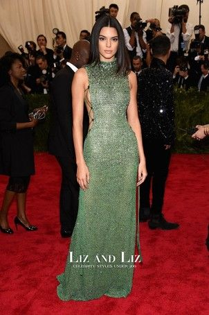 d54e57245b3 Kendall Jenner Green Evening Prom Red Carpet Dress Met Gala 2015 ...