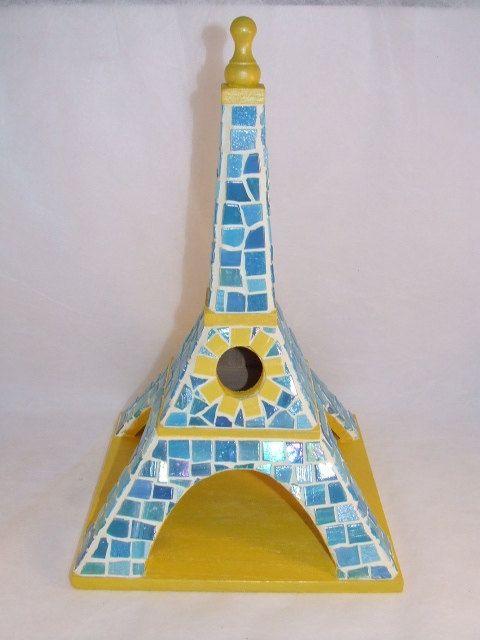 Mosaic Eiffel Tower Birdhouse - Blue & Yellow. via Etsy.