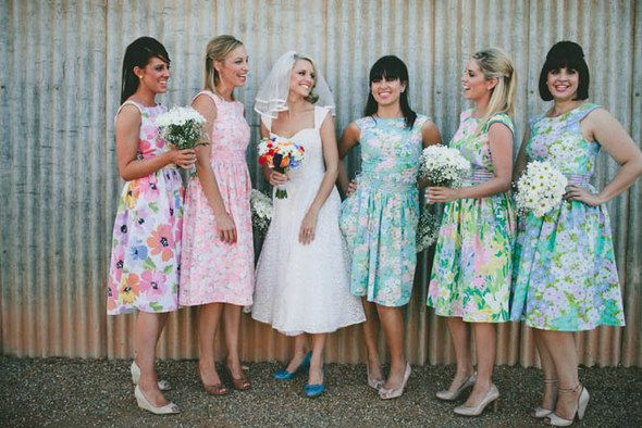 Totally Adorable Country Vintage Bridesmaids In Floral 1950s Dresses Bridesmaids Vintage Country Weddings Mismatched Bridesmaid Dresses Vintage Bridesmaids