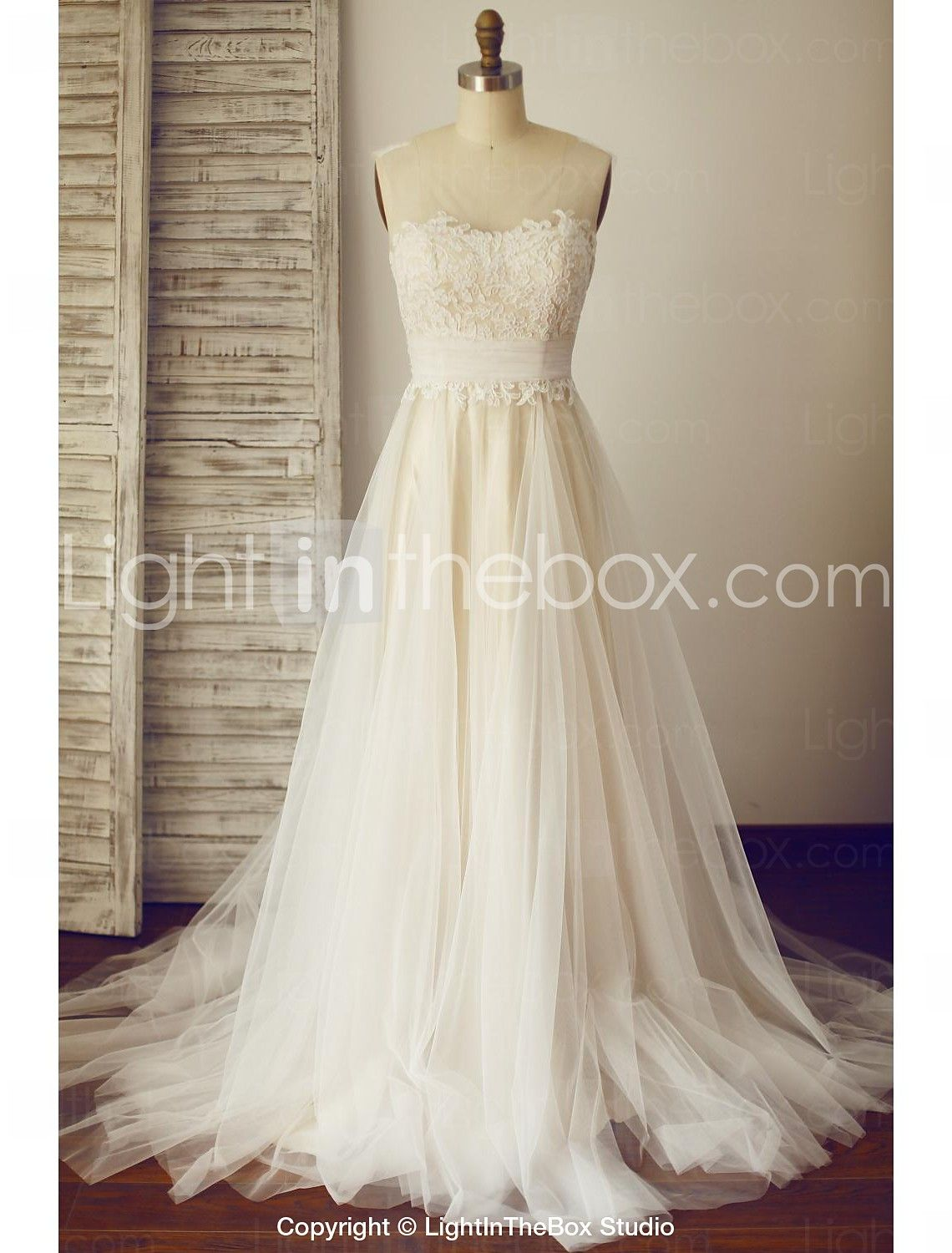 A-line Wedding Dress - Champagne Sweep/Brush Train Scoop Lace / Tulle 2015 – $127.99