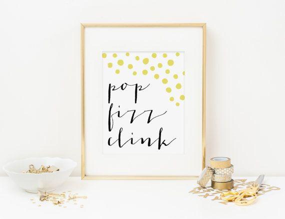 Champagne Art Print Pop Fizz Clink Printable Wall Art 5x7 Bar Wall Art Digital Printable New Year Pop Fizz Clink Printable Printable Wall Art Bar Art