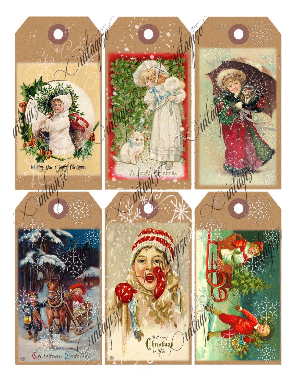 Digital Christmas Tags Printable Vintage Victorian Christmas ...