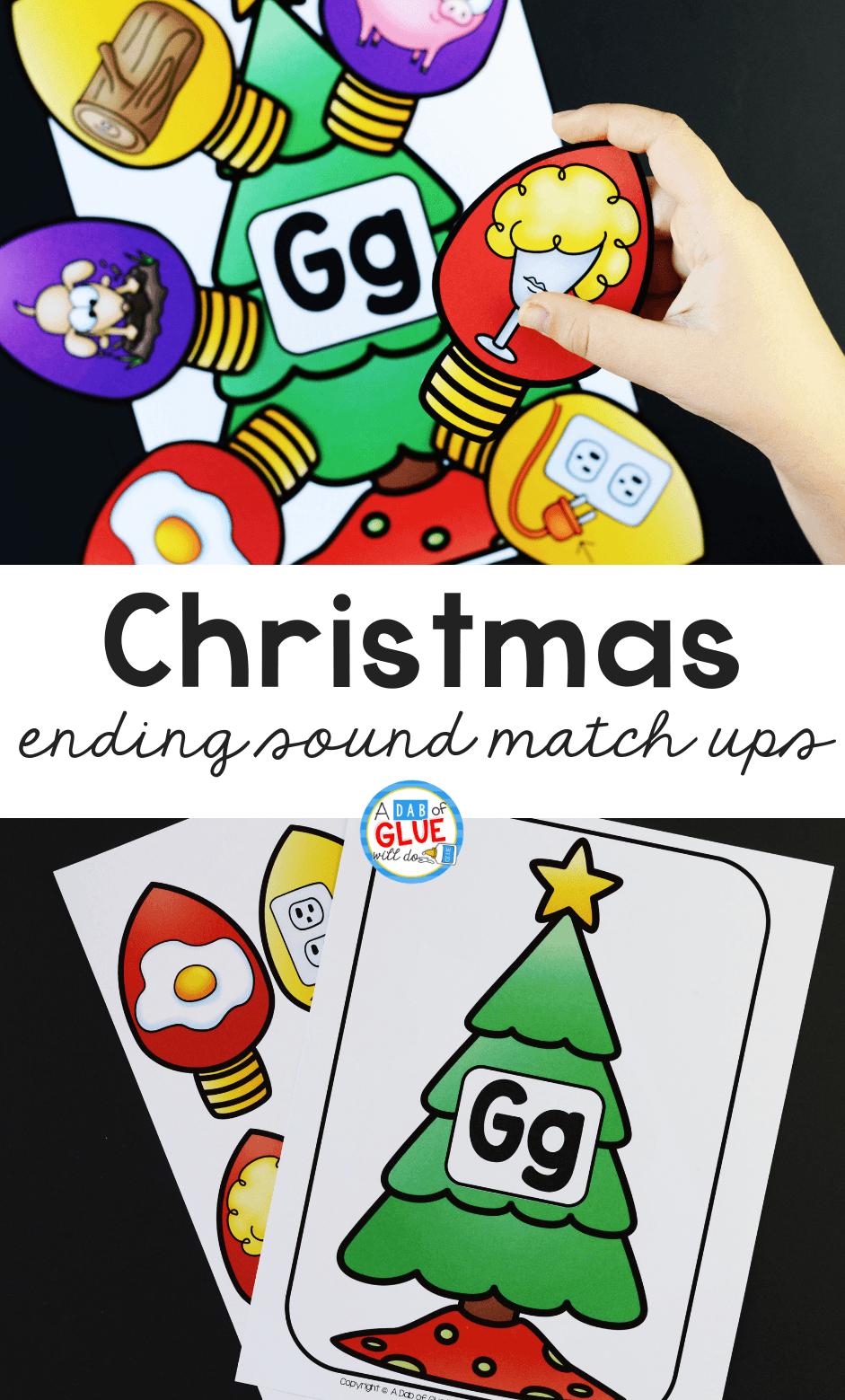 Christmas Ending Sound Match Up A Dab Of Glue Will Do Christmas Kindergarten Preschool Christmas Activities Creative Activities For Kids [ 1559 x 941 Pixel ]