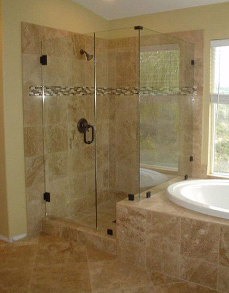 Bathroom, : Cheerful Ideas For Bathroom Decoration Using Glass Corner Shower  Stall Including Travertine Tile Part 87