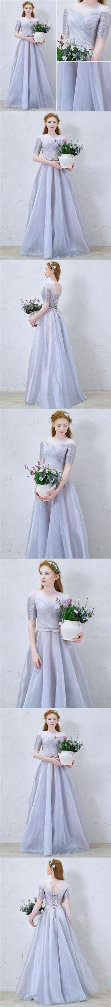 Chic prom dresses scoop aline floorlength silver organza prom