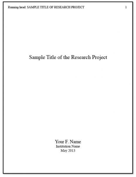 Example Of A Research Paper Title Page