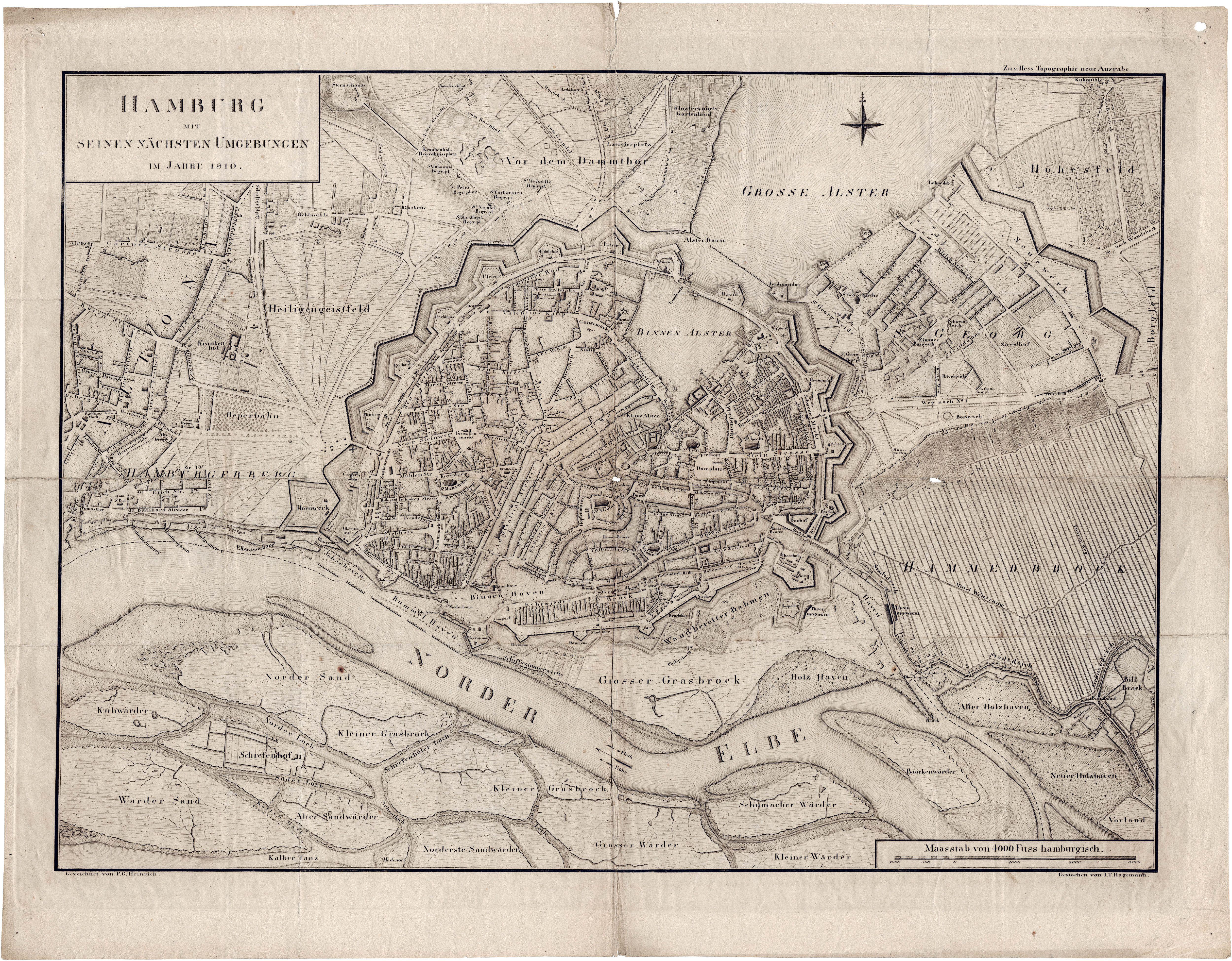 Karte Hamburg 1810 P G Heinrich Hamburg Mit Seinen Nachsten