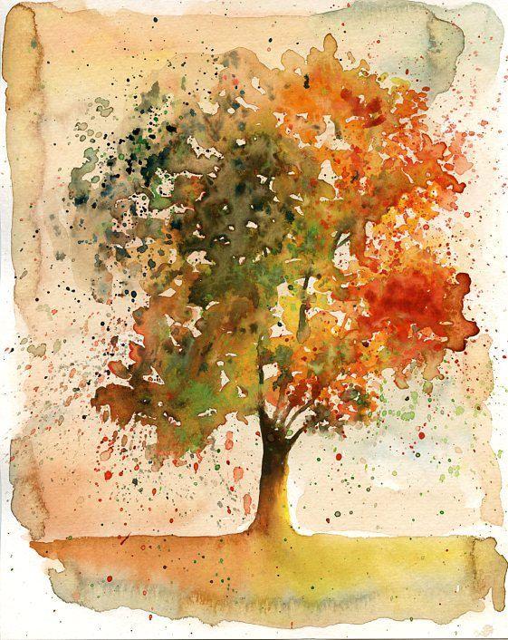 Autumn Arbol Paisaje Pintura Acuarela Naranja Otonal Bosque