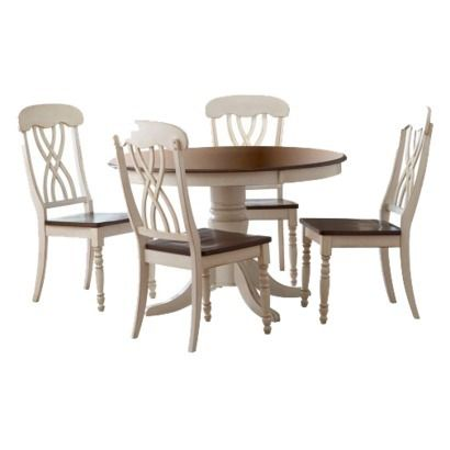5 Piece Countryside Round Table Set - Antique White