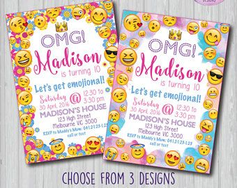 emoji invitation emoji invite emoji birthday party emoji party
