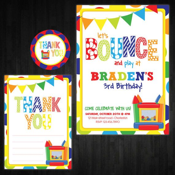 Bounce House Party Invitations Bouncy Castle Printable Bounce – Bounce House Birthday Invitations