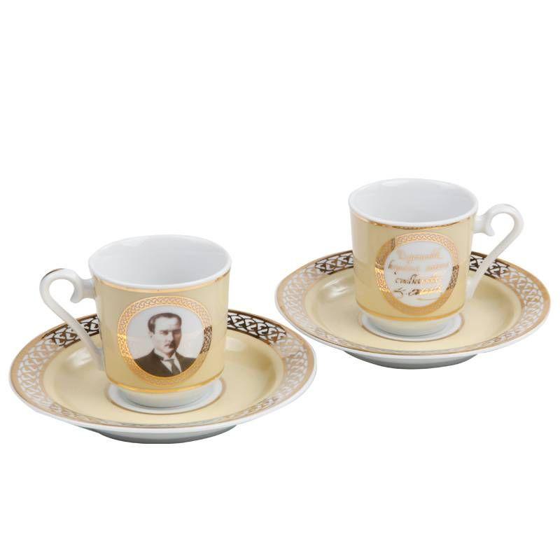 Buy ataturk turkish coffee serving set for 2 turkish