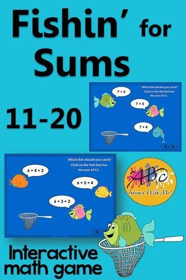 Addition Sums 11 to 20 Interactive Math Game {Fishin\'} | Fun math ...