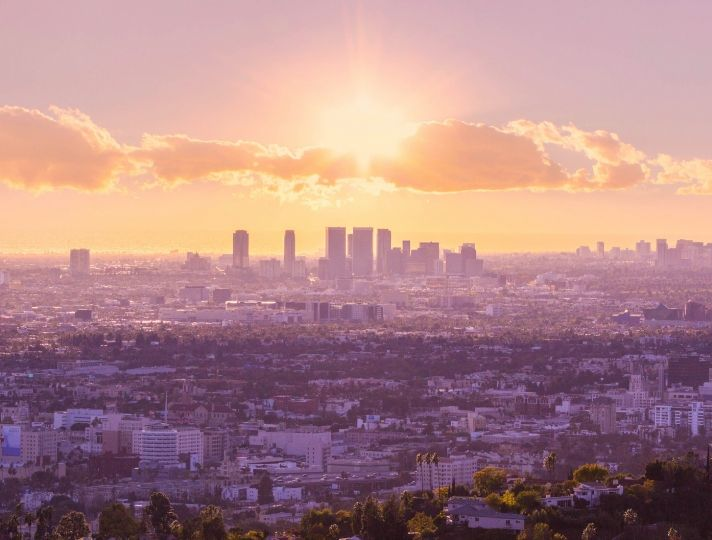 Setting Sun over Los Angeles by J Philips